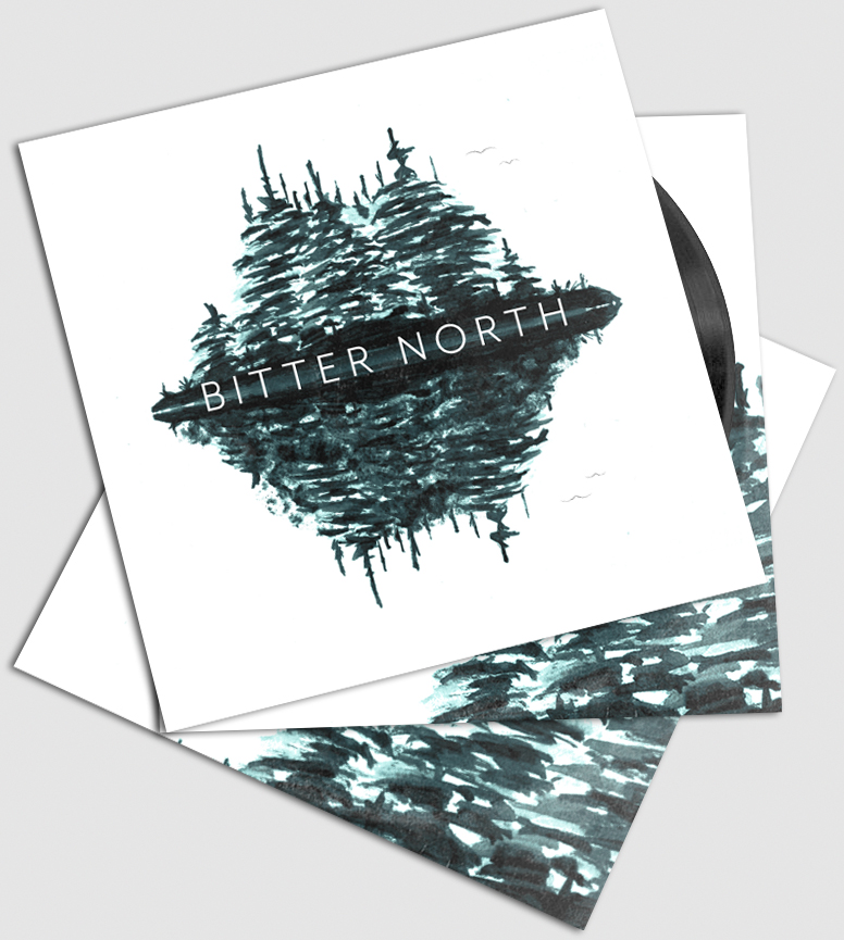 A stack of three Bitter North self-titled EPs from above