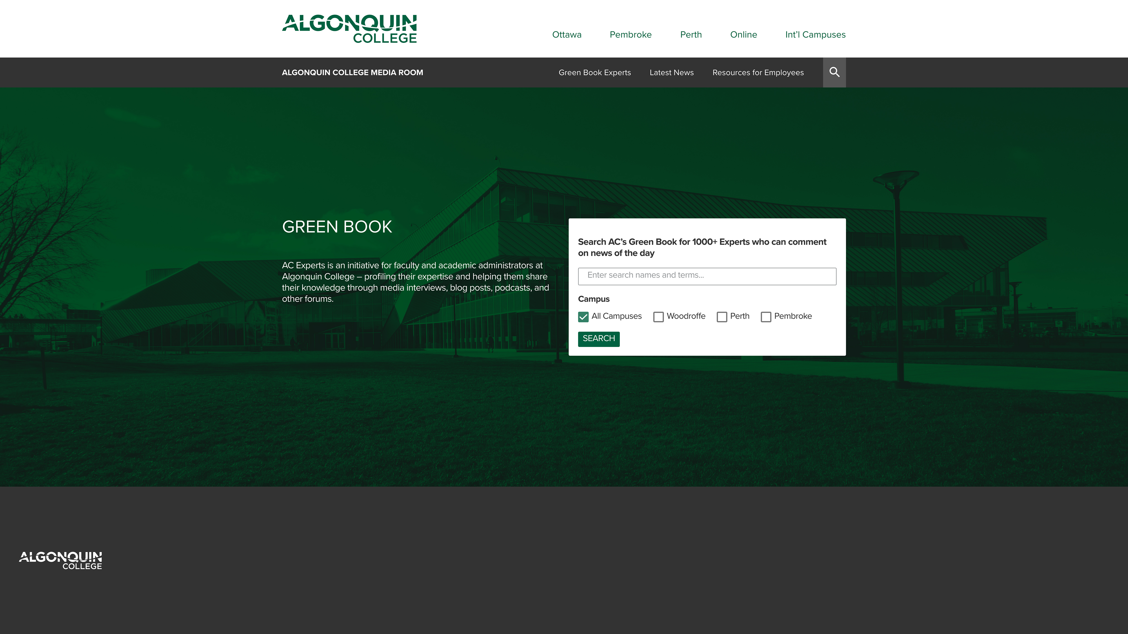 Directory search landing page of the Algonquin College Media Room Greenbook website