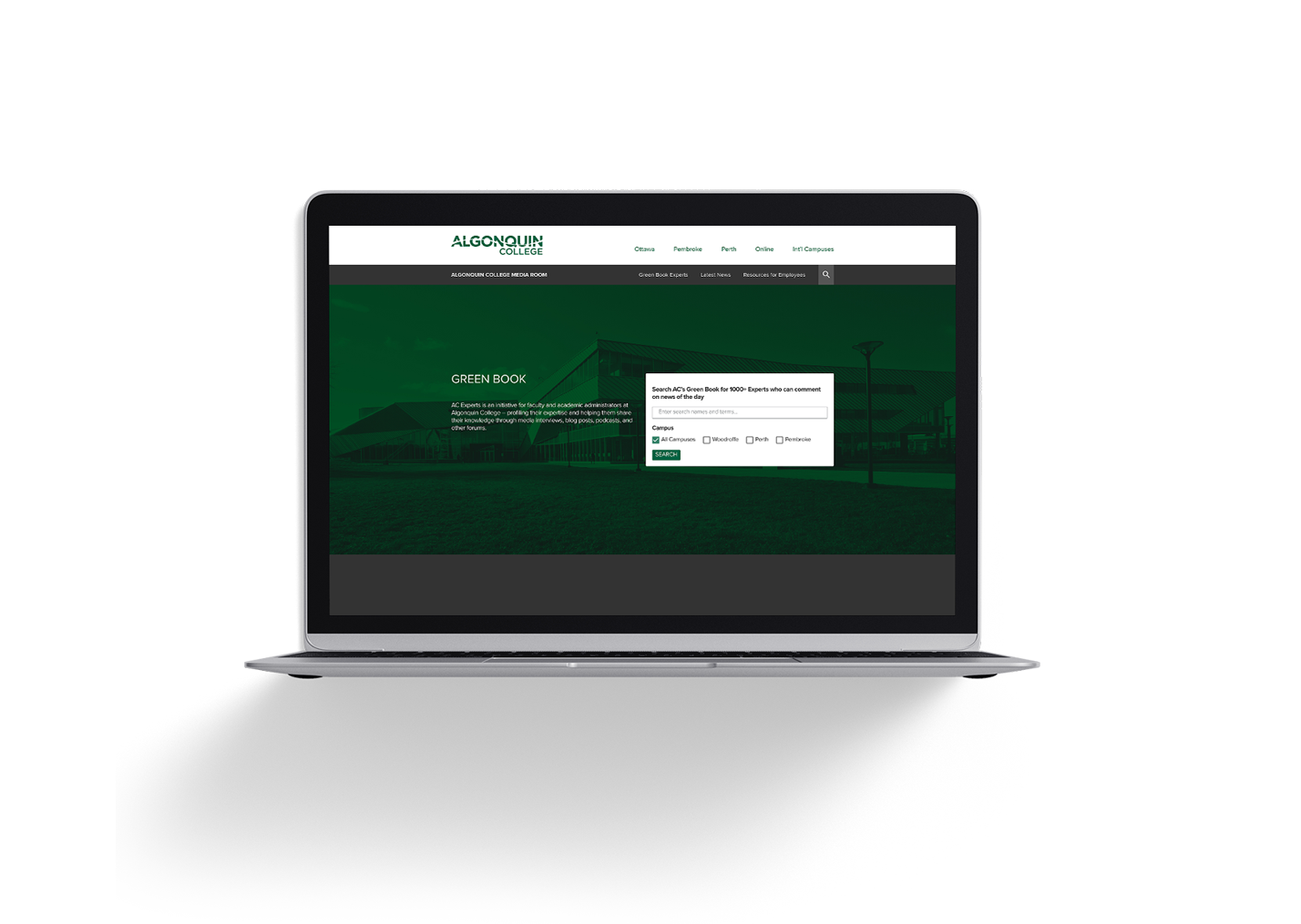 Algonquin College Greenbook website mockup on laptop screen